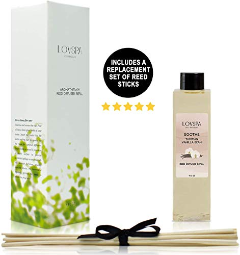 LOVSPA Soothe Tahitian Vanilla Bean Reed Diffuser Refill Oil with Replacement Reed Sticks - Great Scent for Kitchen or Bathroom, 4 oz - Made in The USA