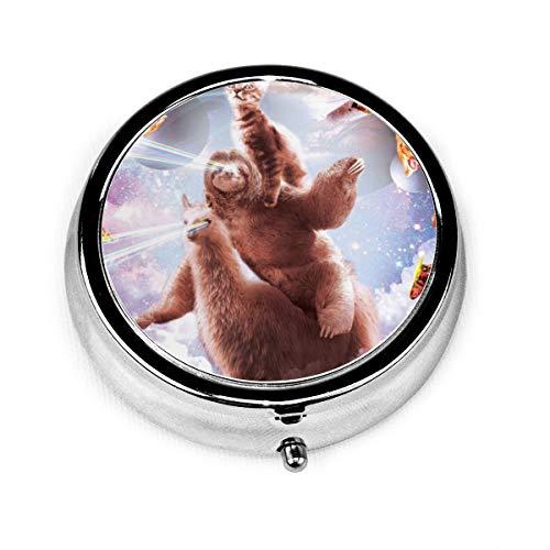 Laser Eyes Cat Sloth Llama Custom Fashion Silver Round Pill Box Medicine Tablet Holder Wallet Organizer Case For Pocket Or Purse Vitamin Organizer Holder Decorative Box
