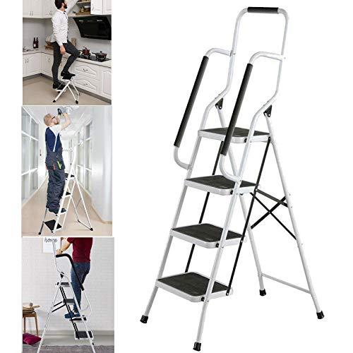 4 Stufenleiter Hochleistungsstahl Trittleiter Klappleitern mit Handlauf Rutschfester Matte Ideal für Zuhause/Küche/Garage 150 kg maximale Kapazität