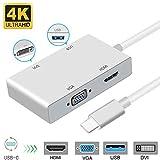 USB C auf DVI Adapter, Weton USB 3.1 Type C zu 4K DVI HDMI, 1080P VGA USB 3.0 USB HUB Multiport Videokonverter für MacBook/MacBook Pro/Chromebook Pixel/Samsung Galaxy S8/S8P zu HDTV/Monitore/Projektor