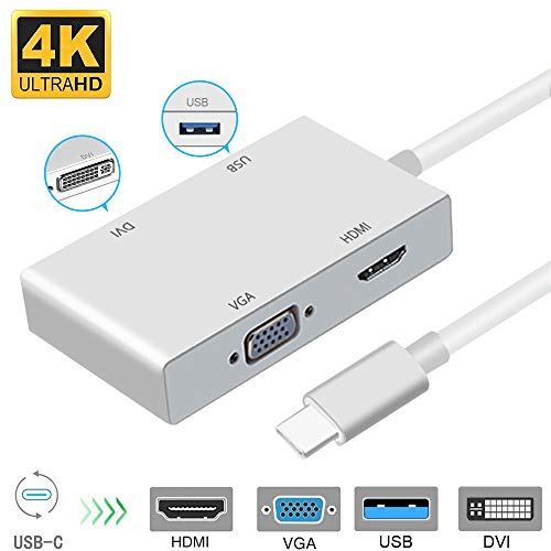 Typ C zu HDMI 4K Adapter, Weton USB 3.1 USB C auf HDMI VGA DVI USB 3.0 USB HUB Multiport Videokonverter für MacBook/MacBook Pro/Chromebook Pixel/Samsung Galaxy S8/S8P zu HDTV/Monitore/Projektor