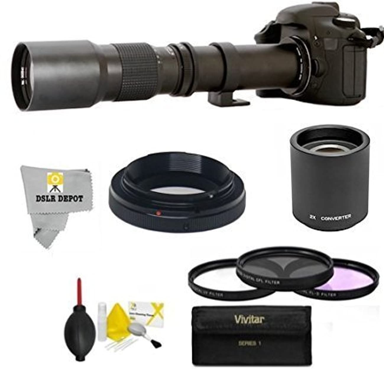 High-Power 500mm/1000mm f/8 Manual Telephoto Lens for Nikon D90, D500, D3000, D3100, D3200, D3300, D3400, D5000, D5100, D5200, D5300, D5500, D7000, D7100, D7200, D300, D300s, D600, D610, D700, D750,