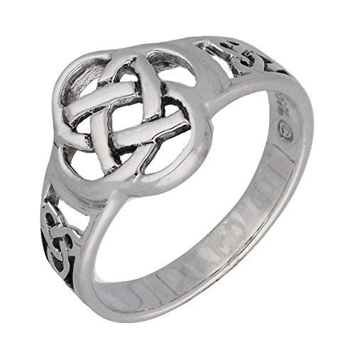 Celtic Triquetra Trinity and Flower Knot Eternity Sterling Silver Ring Size 6(Sizes 4,5,6,7,8,9,10,11)