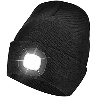 4 LED Head Lamp Black Knit Beanie Hat Light Cap Camping Fishing Hunting Outdoor