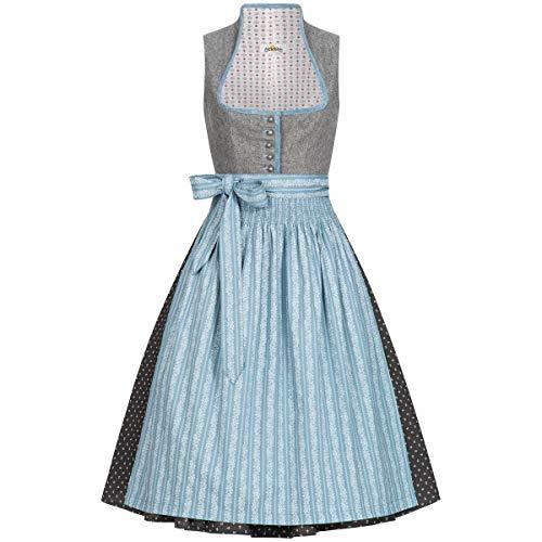 Almsach Damen Trachten-Mode Midi Dirndl Erna in Grau-Eisblau traditionell, Größe:54, Farbe:Grau/Eisblau