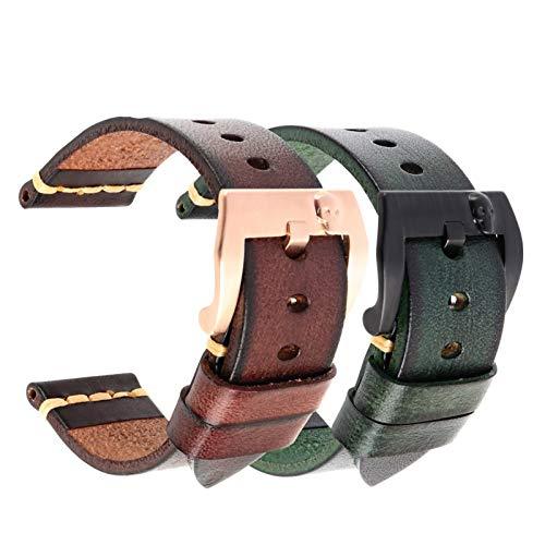 JWWLLT Banda de Reloj de Cuero Italiano Hecha a Mano 18 mm 19 mm 20 mm 21mm 22 mm 24 mm Vintage Correa de Reloj para Panerai Omega IWC Wamkband (Band Color : Green Rosegold, Band Width : 26mm)