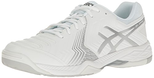ASICS Men's Gel-Game 6 Tennis Shoe, White/Silver, 6 M US