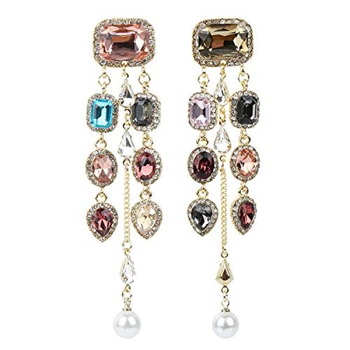 Pendientes de araña para mujer, con costuras de color cuadradas, borla de diamantes de imitación, para mujer con perla para fiesta, Art Deco