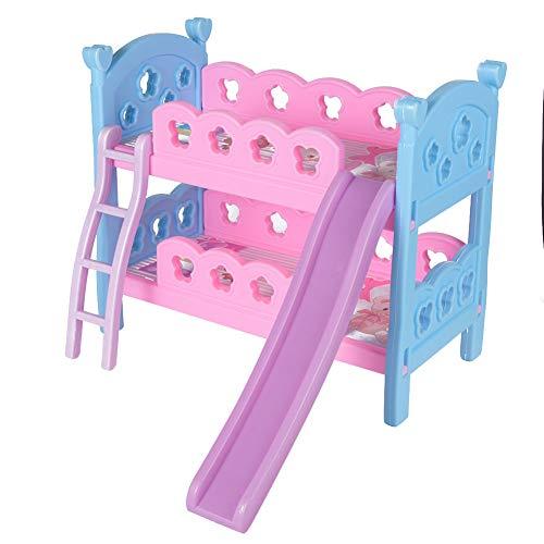 Puppenhaus Spielzeug, Puppenhaus Etagenbett, Miniatur Etagenbett, Puppenbett Schlafzimmermöbel Miniatur simuliert Holz Etagenbett für 30 cm Puppe über 3 Jahre alt