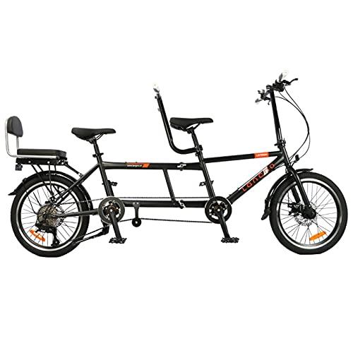 Bicicletta Tandem, Tandem Portatile Con Ruote, Pieghevole, Per Famiglie, In Lega Di Acciaio Con Alta Densità Di Carbonio, Da 3 Posti (Adulto E Bambino), 8 Marce