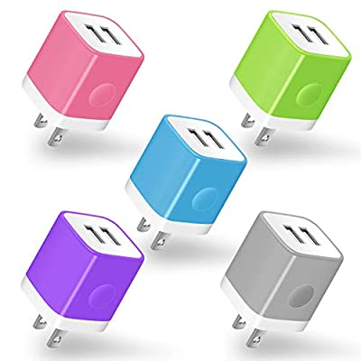 USB Wall Charger, Charging Block Power-7 Universal 5-Pack 2.1Amp Dual Port USB Plug Power Adapter for iPhone X 8 7 6 Plus 5S, iPad, Samsung Galaxy S8 S7 S6 Edge, LG, ZTE, Moto, Tablets, Android More