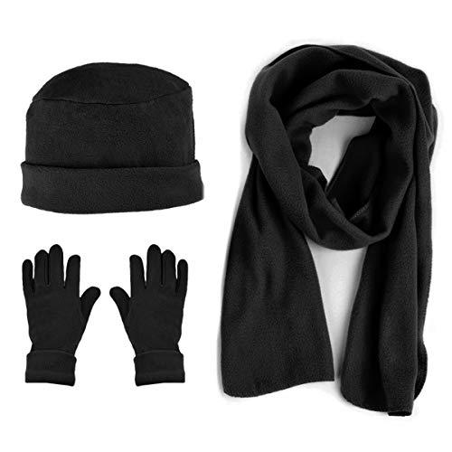 Women's Warm Polyester Fleece Winter Set Fur Trim - Glove Hat and Scarf Set for Women - One Size (Black50)