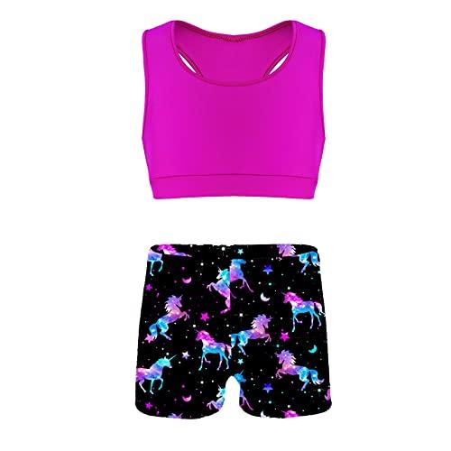 dPois 2Pcs Niña Ropa Deportiva de Compresión Tank Top + Pantalones Cortos Shorts Conjunto de Deporte Gimnasia Chaleco Camiseta Ejercicio Fitness Tankini