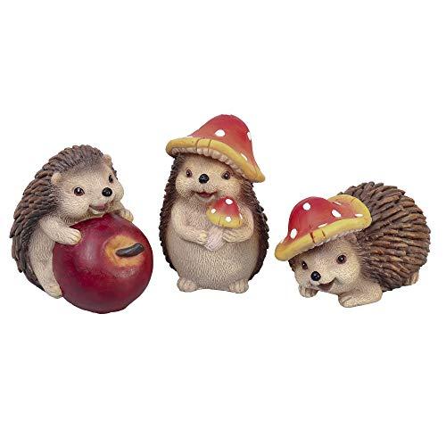 Valery Madelyn 3er Set 7.5/10cm Kunstharz niedlichen Igeln Tierfigur Pilzkappe tragen und Apfel halten für Haus und Garten Herbstdeko Kinder Erntedank Geschenk