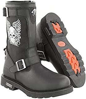 Xelement X19405 Mens Black Tribal Skull Boots with Poron Insoles - 11