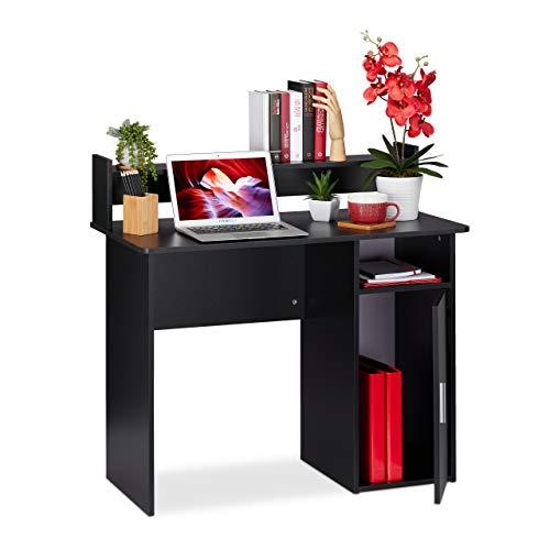 Relaxdays Schreibtisch mit Stauraum, Seitenfächer & Ablage, modern, platzsparend, Bürotisch HBT 96 x 100 x 50cm, schwarz