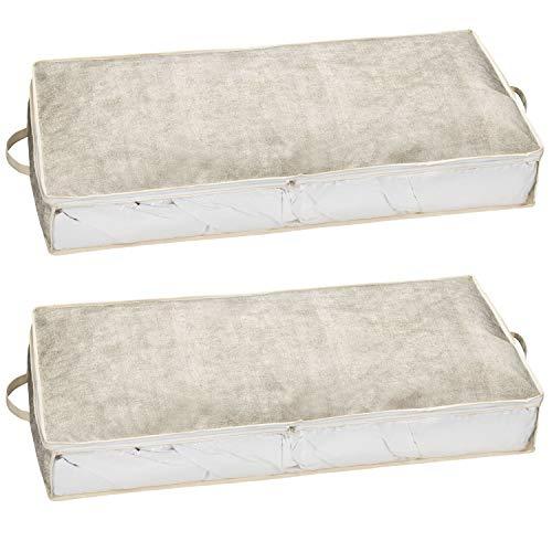 2er Set Unterbettkommode Aufbewahrungstasche aus Stoff für Bettdecken, Kissen - Aufbewahrungsbox, Unterbettbox, Betttasche groß, Bett Staurau, 100 x 45 x 15 cm (beige/grau)