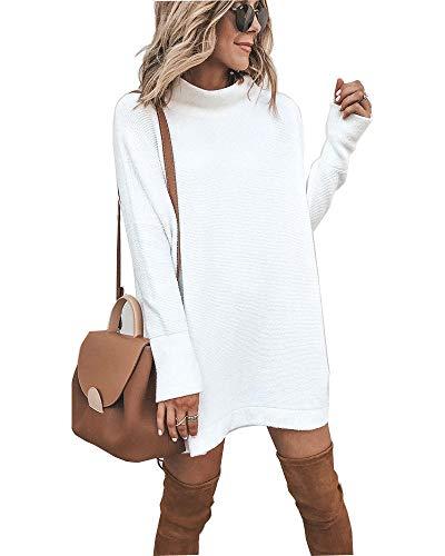 Walant Robe Femme Tops Pull à Manches Longues Col Rond Robe Tunique Oversize Haut Mode Coupe Slim Respirants Printemps Automne Chaud Blouse Dress, Blanc, S