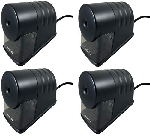 X-Acto 2012688 Powerhouse Heavy-Duty Electric Pencil Sharpener (Pack Of 4), Black, Quiet Operation, Hardened Helical Cutter for Maximum Precision and Durability, Suction Cup Feet for Safety