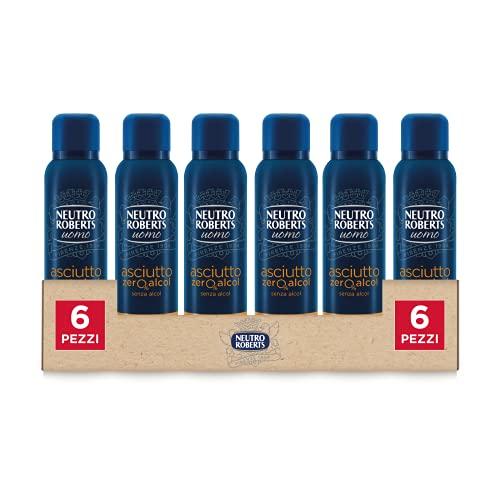 NEUTRO ROBERTS Deodorante Spray Uomo Asciutto Essenza Mediterranea, Senza Alcool, Fragranza di Bergamotto e Bacche di Ginepro, Fresco e Asciutto per 48 Ore, Deodorante Uomo - 6 Flaconi da 150 ml
