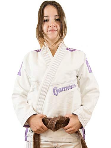 Gameness Mujer Perla BJJ Gi Blanco Violeta Jiu-Jitsu Brasileño Kimono Uniforme Vendido por Minotaurfightstore - F1