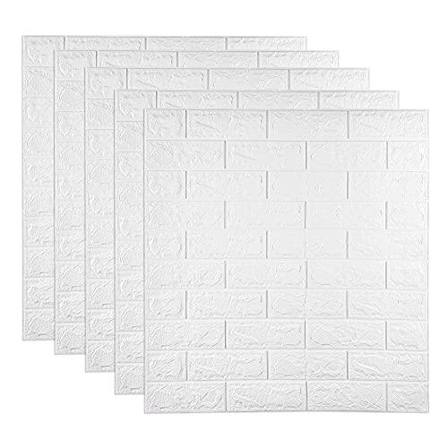 5 Stück 77 x 70 cm 3D Ziegel Tapete 5mm Dicke 3D-Wandpaneele Selbstklebende Wandaufkleber Wasserdichte PE Foam White Wallpaper für Wohnzimmer TV Wand und Home Decor (White, 5mm)