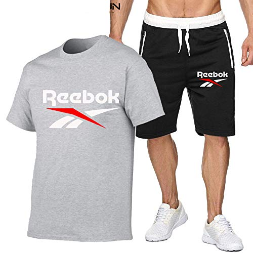 DREAMING-Thin Five-point Pants Outdoor Sports Suit Summer Men's Breathable Short-sleeved Jogging Casual T-shirt Top + Shorts Small