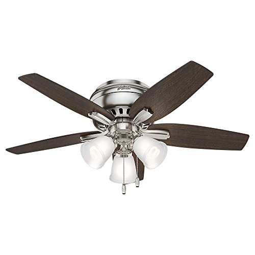 """Hunter Fan Company 51079 Newsome Indoor Low Profile Ceiling Fan with LED Light and Pull Chain Control, 42"""", Brushed Nickel"""