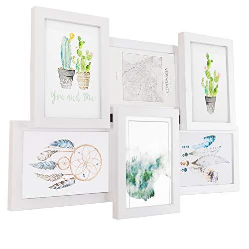 EUGAD Bilderrahmen für 6 Fotos je 10 x 15 cm, Bildergalerie Fotorahmen aus MDF-Platten, Wandmontage, Weiß