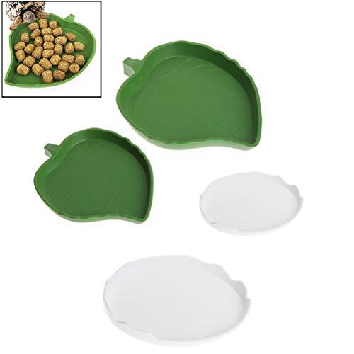 kathson Reptile Food Water Bowl Plastic Leaf &Eggshell Design Pet Habitat Decoration Terrarium Dish Plate for Turtles, Lizards, Chameleons and Small Amphibians(4 PCS)
