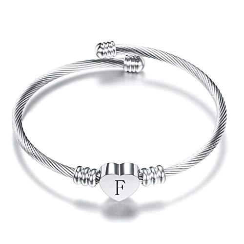 MiniJewelry Initial Cuff Bracelets 26 Alphabet Heart Pendant A-Z Letter Silver Cuff Bracelet for Women Girls, Silver Cuff Letter F