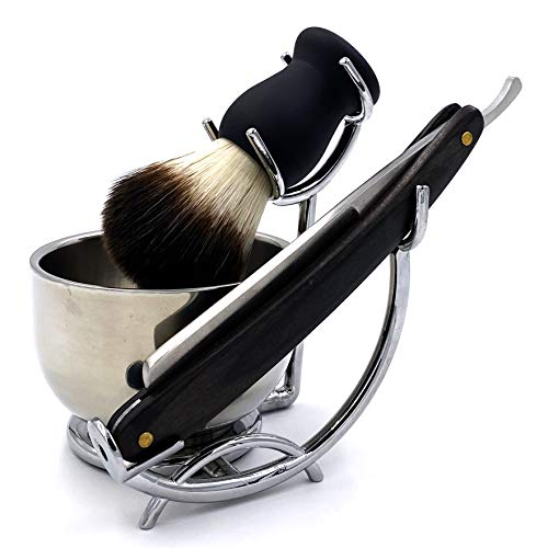Grooming Shaving Kit for Men, Strong Brush Stand and Straight Razor,Shaving Brush,Stainless Steel Shaving Soap Bowl,For Guaranteed Best Shave of Your Life, Nice Gift for Dad, boyfriend, Husband