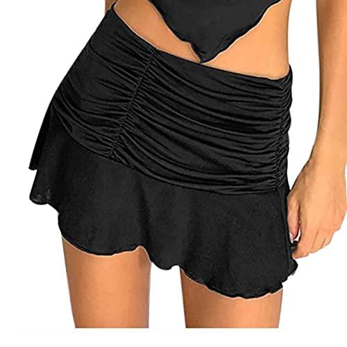 Y2K - Falda corta de verano para mujer, plisada, elegante, monocolor, para mujer y adolescente Negro L