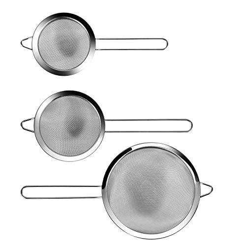 3er Set feines sieb Edelstahl küchensieb Seiher und Abtropfsieben, Premium Feines feinsieb Sieb Set 10/12 /18cm