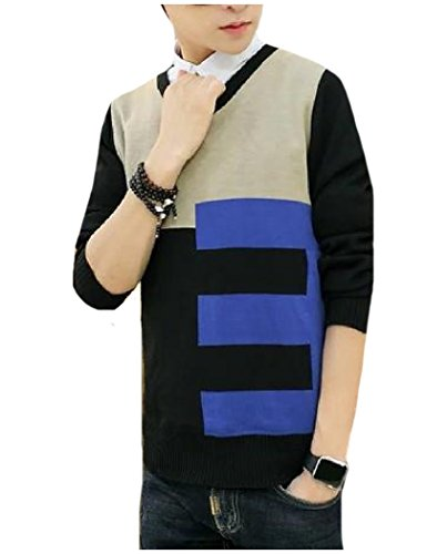 Comfy Mens Pullover Conjoin Color V Neck Sweaters Knitting Tunic Top Black S