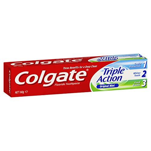 Colgate Triple Action Cavity Protection Fluoride Whitening Toothpaste Original Mint Fresh Breath 160g