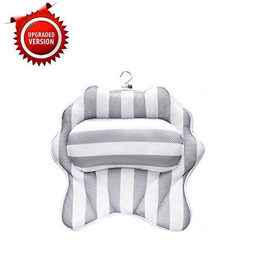Fornorm badkussen, antislip hoofdsteun, anti-schimmel badkussen, badkuip, hoofdmat, rug zuignap en haak design, Quick Dry 3D Air Mesh, twee vormen overig Schale wit en grijs.