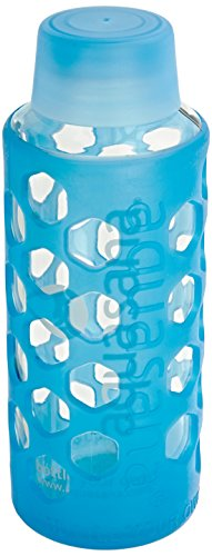 Aquasana AQ-6006-BLU-TR 18-Ounce Glass Water Bottle with Silicone Sleeve, Blue
