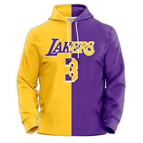 Anthony Davis No.3 Los Angeles Lakers Couples Basketball Hoodie Unisex Pop Long Sleeve Pullover Sweatshirt (Color : A, Size : M)