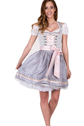 Krüger Dirndl Dirndel Rose Daisy 43576 hellgrau 60er Länge rosa weiß knielang (44)