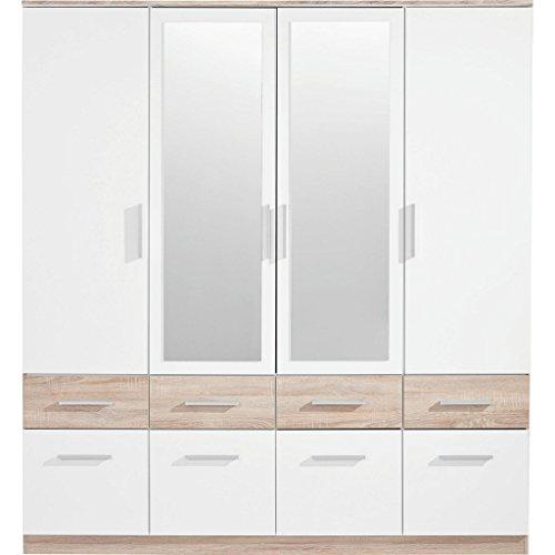 Stella Trading Box 4-türiger Kleiderschrank, Holz, weiß / sonoma, 55 x 180 x 198 cm
