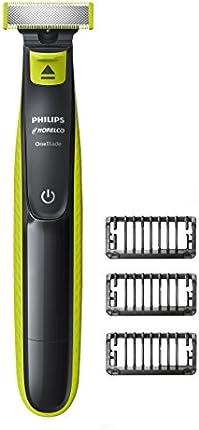Philips Norelco Cortadora y afeitadora eléctrica OneBlade híbrida, Negro, verde, plateado