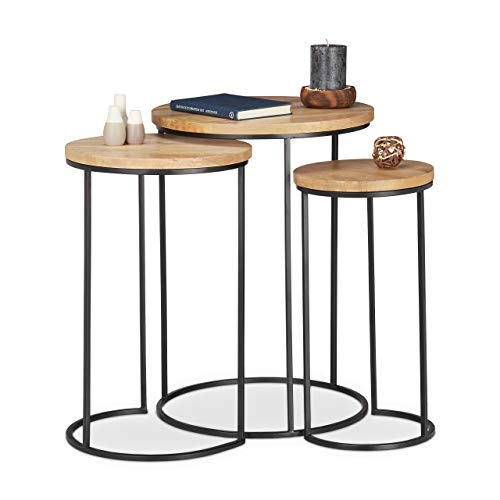 Relaxdays Nested Set of 3, Round Tabletops, 3 Sizes, Metal and Mango Wood, Side Table, Natural, Grundartikel