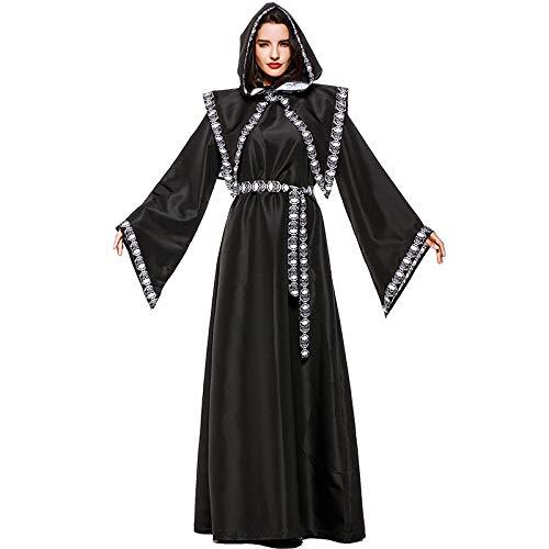 QLQGY volwassen unisex eng dood Grim Reaper kostuum tovenaar tovenares kostuums voor vrouwen Crypt Keeper mannen