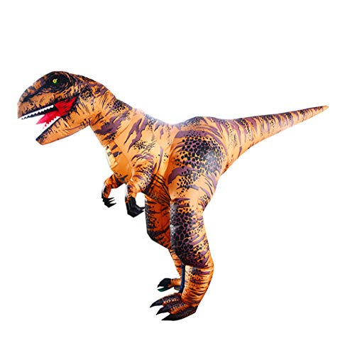 SIREN SUE Super T.rex Inflatable Dinosaur Costume for Halloween Fancy Dress Cosplay Blow Up Jumpsuit for Adult Brown, Large