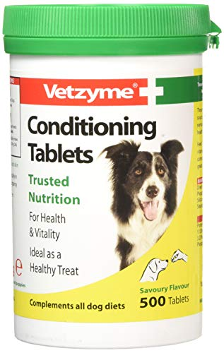 Vetzyme | Conditioning Dog Supplements, Promotes Health & Vitality | Supports Immune System | Nutritional Savoury Treat (500 Tablets)
