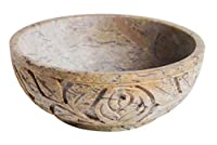 Father's Day Gift Soapstone Floral Design Handmade Scrying & Smudge Bowl
