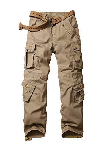 AKARMY - Pantalones de trabajo informales para hombre, con 8 bolsillos, de camuflaje caqui 52