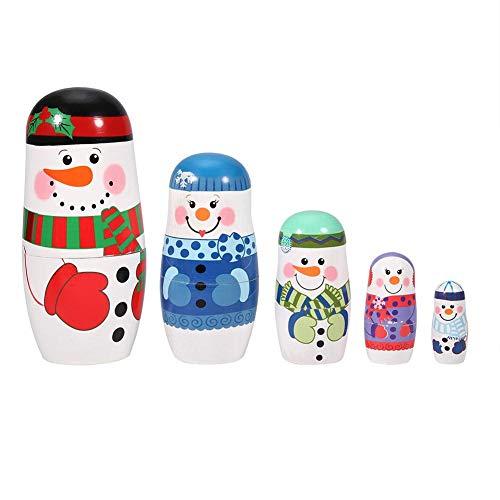 Russische Nesting Dolls - 5Pcs Weihnachten handbemalte Wunschpuppen Nette hölzerne Matroschka-Puppen Russische Nesting Dolls Set Home Decoration(大号 雪人)