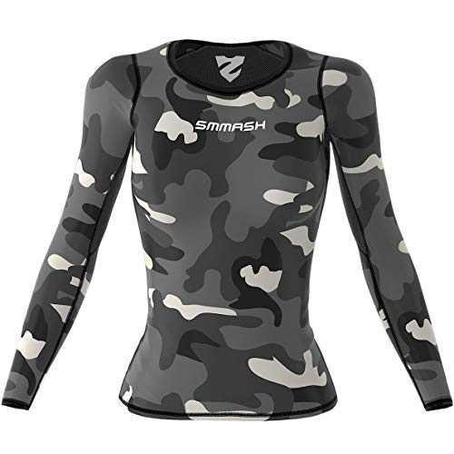 SMMASH Camo Damen Langarm Top, Atmungsaktiv und Leicht Compression Shirt, Longsleeve Damen, Gym Top, Funktionsshirt für Crossfit, Fitness, Yoga, Sport Langarmshirt, Hergestellt in der EU (S)
